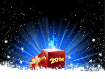 Christmas gift box and snowflakes Stock Photography