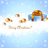 Christmas gift box and snowflakes Royalty Free Stock Photo