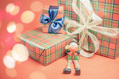 Christmas gift box with snowman toy Stock Photo