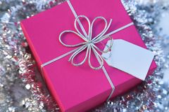 Christmas Gift Box (square) With Bow And Tag Stock Images