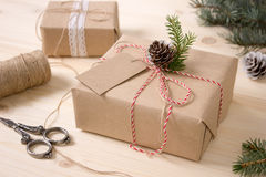 Christmas Gift Box with Tag, Mock-up. royalty free stock photo