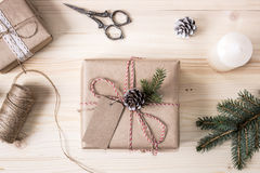 Christmas Gift Box with Tag, Mock-up perspective view. Royalty Free Stock Photo
