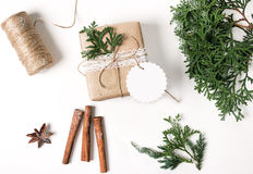 Christmas Gift Box with Tag, Mockup top view. Stock Photos