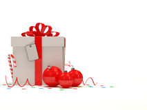 Christmas Gift Box on white background. 3d Image Royalty Free Stock Photo