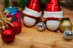 Christmas gift box on wood table