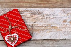 Christmas gift box on wooden background Royalty Free Stock Photography