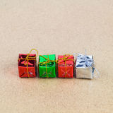 Christmas gift box on wooden table background Royalty Free Stock Photos