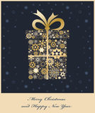 Christmas gift boxe from golden snowflakes Royalty Free Stock Images