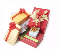 Christmas gift boxes. Isolated on white Royalty Free Stock Photo