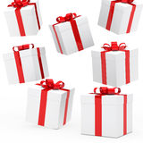 Christmas gift boxes. Red white falling down Royalty Free Stock Photography