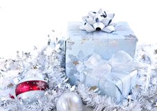 Christmas gift boxes. Two gift boxes with Christmas ornaments on white background Royalty Free Stock Photo