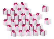 Christmas gift boxes. Illustration of many christmas gift boxes over white background (minimal style Stock Photos