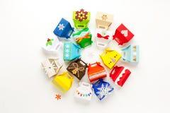 Christmas gift boxes (advent calendar) Royalty Free Stock Photos