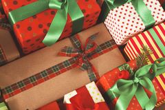 Lots of Gift boxes on wood, christmas presents in paper Royalty Free Stock Images