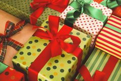 Lots of Gift boxes on wood, christmas presents in paper Stock Photos
