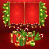 Christmas Gift Boxes, Ball, Candy, Garland, Fir-tree Royalty Free Stock Photography