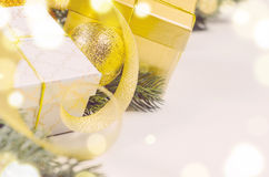 Christmas gift boxes and balls Royalty Free Stock Photography