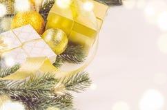 Christmas gift boxes and balls Royalty Free Stock Photos