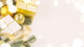 Christmas gift boxes and balls Royalty Free Stock Photo