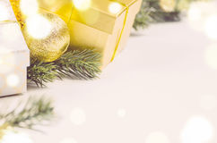 Christmas gift boxes and balls Stock Photography