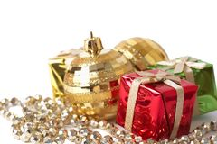 Christmas gift boxes, baubles and beads Stock Images