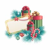 Christmas gift boxes with blank greeting card. Christmas design template, Stack of gift boxes with blank greeting card, illustration Stock Image