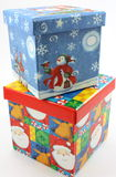 Christmas gift boxes blue and red stacked Royalty Free Stock Image