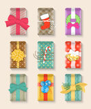 Christmas gift boxes bright colorful set Royalty Free Stock Photos