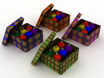 Christmas gift boxes and christmas balls Royalty Free Stock Photography