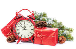 Christmas gift boxes and clock Royalty Free Stock Photo