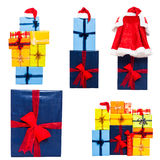 Christmas gift boxes collection Stock Photos
