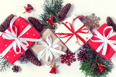 Christmas gift boxes collection and decor are in line. Top view. Vintage toning Stock Photos