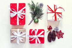 Christmas gift boxes collection Decorated with ribbons. Top view. Vintage toning Royalty Free Stock Photos