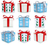 Christmas gift boxes collection set of gifts isolated Stock Photos