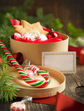 Christmas gift boxes with cookies and candy Stock Images