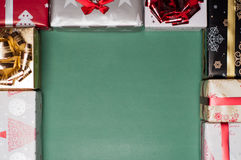 Christmas Gift boxes Creating A Frame On Textured background Royalty Free Stock Image