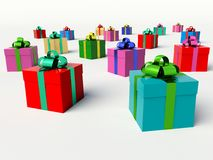 Christmas gift boxes. 3d render illustration Royalty Free Stock Photo