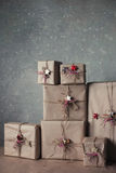 Christmas gift boxes decorated with lace and stars, lifestyle, holiday, gift, celebrate, greeting Royalty Free Stock Photos