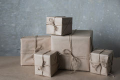 Christmas gift boxes decorated with lace and stars, lifestyle, holiday, gift, celebrate, greeting Royalty Free Stock Images