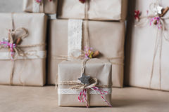 Christmas gift boxes decorated with lace and stars, lifestyle, holiday, gift, celebrate, greeting Stock Photo