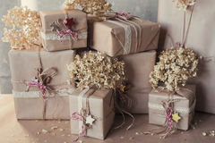 Christmas gift boxes decorated with lace and stars, lifestyle, holiday, gift, celebrate, greeting Royalty Free Stock Photo