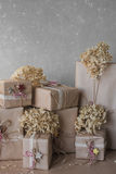 Christmas gift boxes decorated with lace and stars, lifestyle, holiday, gift, celebrate, greeting Stock Image
