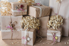 Christmas gift boxes decorated with lace and stars, lifestyle, holiday, gift, celebrate, greeting Royalty Free Stock Photography