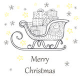 Christmas gift boxes decorated in a sleigh, doodle illustration Stock Image