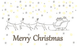 Christmas gift boxes decorated in a sleigh, doodle illustration Stock Images