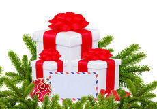 Christmas Gift Boxes, Decoration Balls and Christmas Tree Branch Stock Image
