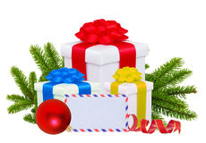 Christmas Gift Boxes, Decoration Balls and Tree Branch isolated Stock Photo