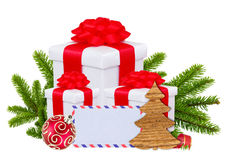Christmas Gift Boxes, Decoration Balls and Tree Branch isolated Royalty Free Stock Images