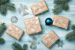 Christmas gift boxes decoration on wooden background Royalty Free Stock Photos