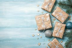Christmas gift boxes decoration on wooden background. Copy space Stock Image
